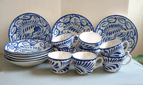 & Mexican Pottery - Anfora Blue/White Dishes
