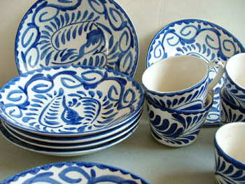 The item will ship at 13 pounds for $21.75 postage. Postage includes extra weight for packing any excess postage charged will be refunded to buyeru0027s Paypal ... & Mexican Pottery - Anfora Blue/White Dishes